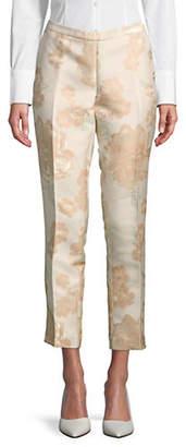 Calvin Klein Slim-Fit Floral Brocade Pants