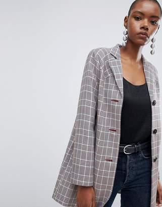 Asos DESIGN Check Formal Coat With Western Stitching