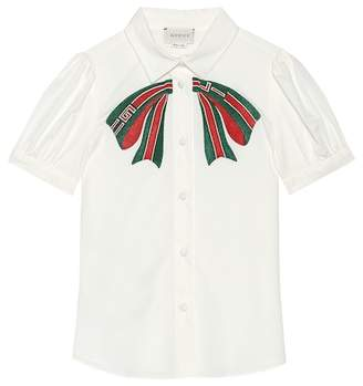 Gucci Kids Appliquéd stretch cotton shirt