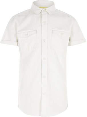River Island Boys white linen short sleeve shirt