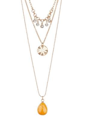 Melrose and Market 3 Layer Stone Flower Charm Necklace