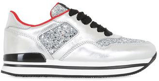 50mm H222 Glittered Leather Sneakers $475 thestylecure.com