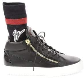 Giuseppe Zanotti Mid Top Leather Sock Sneakers