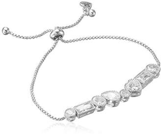 Betsey Johnson betsey blue mixed cubic zirconia stone silver slider bracelet