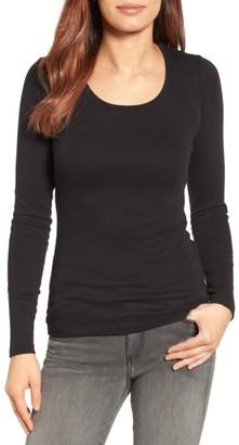 Women's Caslon Long Sleeve Scoop Neck Cotton Tee $25 thestylecure.com