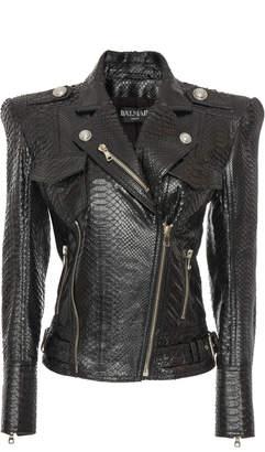 Balmain Python Perfecto Power-Shoulder Leather Jacket