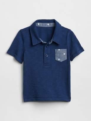 Gap Chambray Pocket Polo T-Shirt