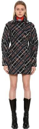 Kenzo Plaid Wool Blend Cocoon Coat
