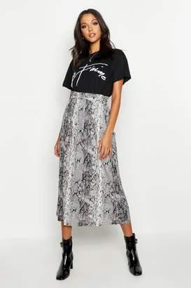 boohoo Tall Pleated Snake Print Midi Skirt