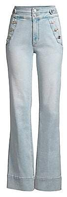 Current/Elliott Women's The Maritime High-Waist Button Flare Jeans