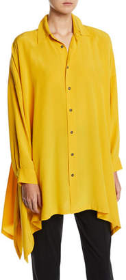eskandar Long-Sleeve Silk Button-Front Handkerchief Blouse