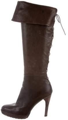 Stuart Weitzman Leather Lace-Up Boots