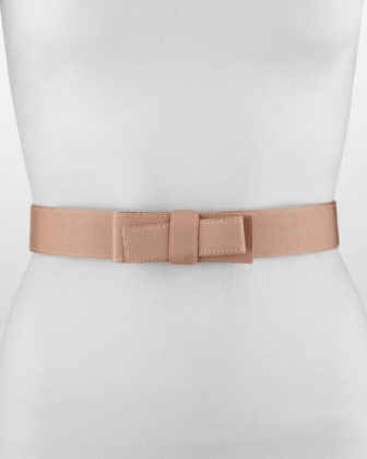 Lanvin Grosgrain Bow-Front Belt, Nude