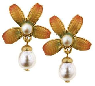 Couture Antiquities Fantasia Fiori Simulated Pearl Drop Earrings