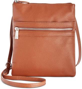 Giani Bernini Triple-Zip Pebble Leather Dasher Crossbody