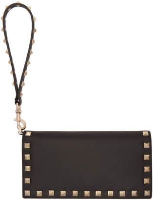 Valentino Black Garavani Rockstud Flap Continental Wallet