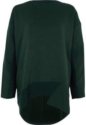 River Island Womens Dark green dipped hem sweatshirt