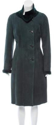 Oscar de la Renta Shearling-Trimmed Suede Coat w/ Tags