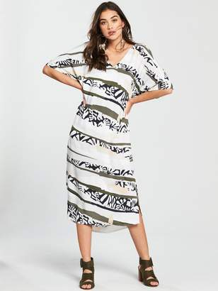 NATIVE YOUTH Printed V-Front Dress - Monochrome