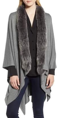 La Fiorentina Wool Blend Wrap with Genuine Fox Fur Trim