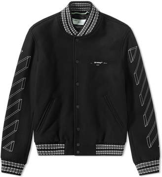 Off-White Off White Diagonal 3D Line Skinny Varsity Jacket