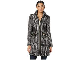 Via Spiga Tassel Popcorn w/ Faux Leather Detail Women's Coat