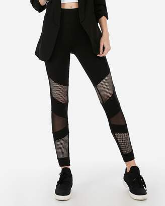 Express Sexy Stretch High Waisted Mixed Mesh Leggings