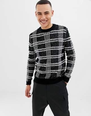 ONLY & SONS Textured Checked Knitted Sweater