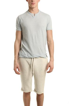 V::room Slit Neck Short Sleeve Tee in Silver Grey