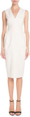 Victoria Beckham V-Neck Sleeveless Fitted-Waist Sheath Dress