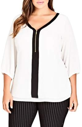 City Chic Zip Front Top