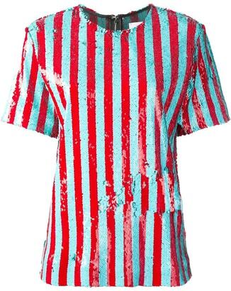 Halpern sequinned short sleeved top