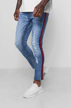 boohoo Distressed Super Skinny Jeans With Side Tape
