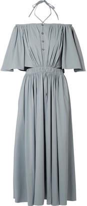 Rosie Assoulin Off-the-shoulder Poplin Midi Dress - Stone