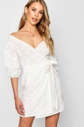 boohoo Embroidered Off Shoulder Wrap Mini Dress