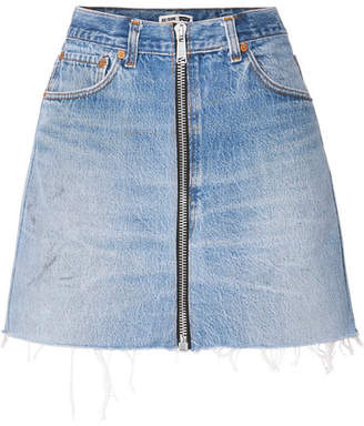 RE/DONE Levis Zip-embellished Frayed Denim Mini Skirt - Mid denim