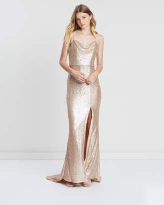 Lumier Anne Cowl Neck Split Sequin Maxi Dress