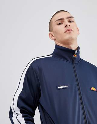 Ellesse Poly Tricot Track Jacket With Sleeve Taping In Navy