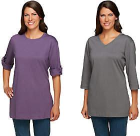 Denim & Co. Set of 2 Oversized Tunic CottonT-shirts
