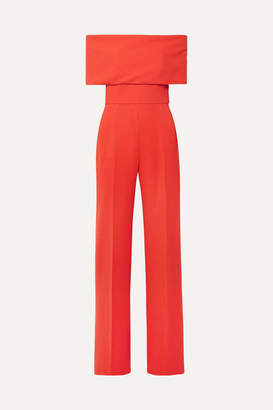 Lela Rose Off-the-shoulder Wool-blend Cady Jumpsuit - Coral