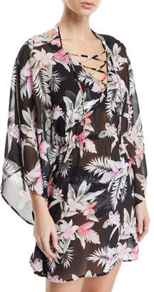 Tommy Bahama Ginger Flowers Open-Back Lace-Up Tunic
