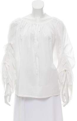 Plein Sud Jeanius Long Sleeve Pleated Top