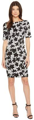 Calvin Klein Printed 3/4 Sleeveless Floral Compression Jacquard CD8E28JW Women's Dress