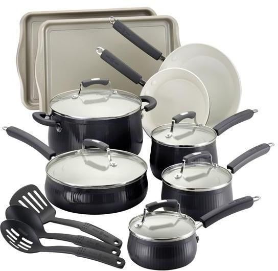 Paula Deen 17-pc. Savannah Collection Cookware set with Bakeware, Black