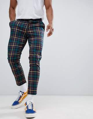 Asos Design DESIGN skinny cropped pants in tartan check