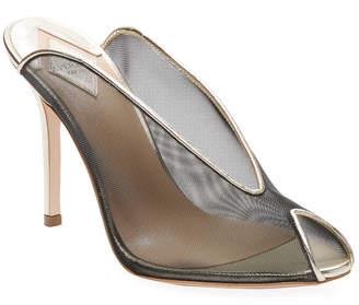 Aperlaï Mesh Peep-Toe Leather High Heel Sandal