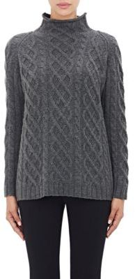 Barneys New York Women's Cashmere Cable-Knit Fisherman Sweater-DARK GREY $795 thestylecure.com