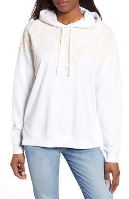 Lucky Brand Embroidered Detail Cotton Hoodie
