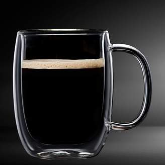 Safdie & Co. Insulated Double Wall Mug Cup Glass-Set of 4 Mugs/Cups for Coffee,Cappuccino,latte,espresso,Tea,Thermal,Clear,350ml