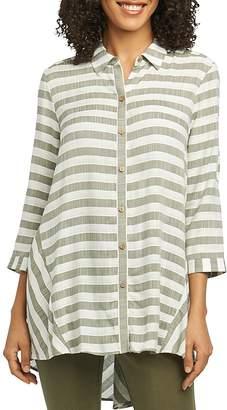 Foxcroft Shirlyn Striped High/Low Tunic Shirt